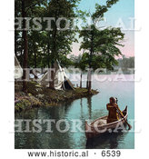 Historical Photo of Native American Indian Man Paddling Boat near Tipis by Al