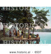 Historical Photo of Native American Indians Assisting Hunters As They Return to Shore by Al
