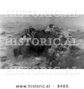 Historical Photo of Native American Indians Killing Buffalo 1898 - Black and White Version by Al