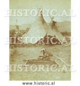 Historical Photo of Nez Perce Indians and Tipis 1871 - Sepia by Al