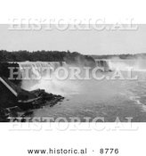 Historical Photo of Niagara Falls from Steel Arch Bridge - Black and White Version by Al