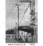 Historical Photo of Nimkish Village at Alert Bay 1914 - Black and White by Al