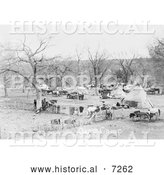 Historical Photo of Osage Indian Camp Osage Indian Camp 1906 - Black and White by Al