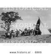 Historical Photo of Pack Animals and People near a Native American Indian Tipi - Black and White Version by Al