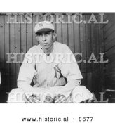 Historical Photo of Patrick William Maloney Sitting on a Dugout Bench in 1912 - Black and White Version by Al