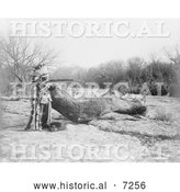 Historical Photo of Pawnee Indian Aiming a Rifle 1908 - Black and White by Al