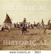 Historical Photo of Pawnee Indian Camp 1866 - Sepia by Al