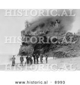 Historical Photo of People on the Beach near the Cliff House As It Burns down in 1907 - Black and White Version by Al