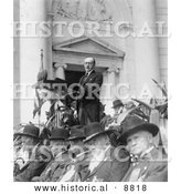 Historical Photo of President Calvin Coolidge - Decoration Day Ceremonies - Black and White Version by Al