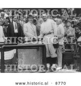 Historical Photo of President Calvin Coolidge Shaking Hands with Walter Johnson - Black and White Version by Al