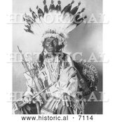 Historical Photo of Pretty Hawk, Sioux Indian Chief 1908 - Black and White by Al