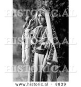 Historical Photo of Pretty Ramallah Woman Standing and Staring - Black and White Version by Al