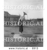 December 13th, 2013: Historical Photo of Pueblo Indian Screening Wheat 1900 - Black and White by Al