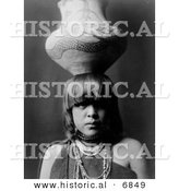 Historical Photo of Pueblo San Ildefonso Girl Balancing a Jar on Her Head 1927 - Native American Indian - Black and White Version by Al