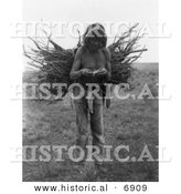 Historical Photo of Pueblo Wood Carrier - Native American Indian - Black and White Version by Al