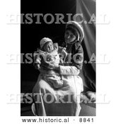 Historical Photo of Ramallah Lady Holding Her Baby on Lap - Black and White Version by Al