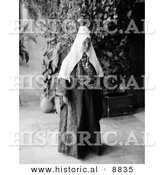 Historical Photo of Ramallah Woman Wearing a Dowry Necklace - Black and White Version by Al