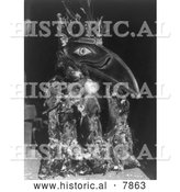 Historical Photo of Raven Mask - Black and White by Al