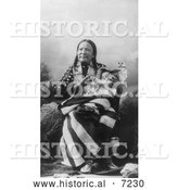 Historical Photo of Red Deer, Sioux Indian, with Baby 1900 - Black and White by Al