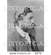 Historical Photo of Robert Mcgee, Who Was Scalped by Sioux Chief Little Turtle As a Child Back in 1864, in Profile in 1890 - Black and White Version by Al