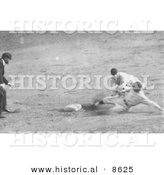 Historical Photo of Roger Thorpe Peckinpaugh Sliding Safetly to Second Base 1925 - Black and White Version by Al