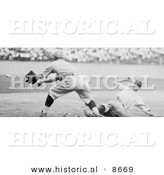 Historical Photo of Roger Thorpe Peckinpaugh Sliding Safetly to Third Base During a Baseball Game in 1925 - Black and White Version by Al