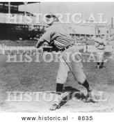 Historical Photo of Rube Kroh of the Chicago Cubs Throwing a Baseball 1910 - Black and White Version by Al
