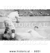 Historical Photo of Sam Rice Slding to Third Base During a Baseball Game, 1925 - Black and White Version by Al