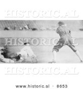 Historical Photo of Sam Rice Sliding Safely to Third Base During a Baseball Game, 1925 - Black and White Version by Al