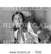 Historical Photo of Sammy Lone Bear, Sioux Native American 1900 - Black and White by Al