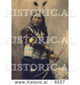 Historical Photo of Shout At, a Native American Oglala Indian, Armed with Bow and Arrows by Al