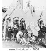 Historical Photo of Sioux Chiefs and Tipis 1905 - Black and White by Al