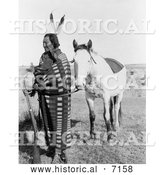 December 13th, 2013: Historical Photo of Sioux Indian, Crow Dog, with Horse 1900 - Black and White by Al