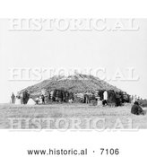 Historical Photo of Sioux Indian Dance House 1911 - Black and White by Al