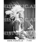 Historical Photo of Sioux Indian Man, Chief Lone Bear 1900 - Black and White by Al