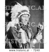Historical Photo of Sioux Indian Man Named Kills Close to the Lodge 1900 - Black and White by Al
