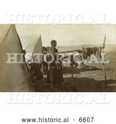 Historical Photo of Sioux Indian Woman Drying Meat 1908 - Sepia by Al