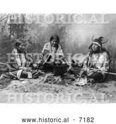 December 13th, 2013: Historical Photo of Sioux Indians Cooking on Fire 1899 - Black and White by Al