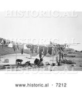December 13th, 2013: Historical Photo of Sioux Indians Cutting and Drying Meat 1908 - Black and White by Al