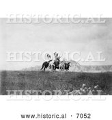 Historical Photo of Sioux Indians on Horses 1905 - Black and White by Al