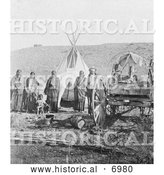 December 13th, 2013: Historical Photo of Sioux Indians, Wagon and Tipi 1907 - Black and White by Al