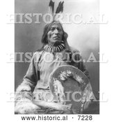 Historical Photo of Sioux Man Named Fool Bull 1900 - Black and White by Al