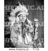 Historical Photo of Sioux Native American Man Named Red Horn Bull 1900 - Black and White by Al