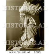 Historical Photo of Sioux Native American Man Named Whirling Hawk 1900 - Sepia by Al