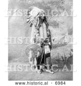 December 13th, 2013: Historical Photo of Sioux Native American Named Turning Bear 1900 - Black and White by Al