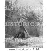 Historical Photo of Sioux Tipi in Winter 1908 - Black and White by Al
