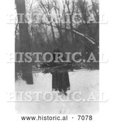 Historical Photo of Sioux Woman Carrying Wood 1908 - Black and White by Al