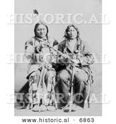 Historical Photo of Sitting Bull and One Bull 1884 - Native American Indians - Black and White Version by Al