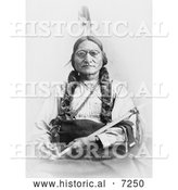 Historical Photo of Sitting Bull Holding a Calumet 1881 - Black and White by Al