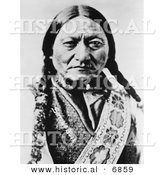 Historical Photo of Sitting Bull (Slon-he) 1885 Portrait - Native American Indian - Black and White Version by Al